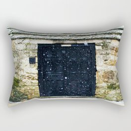 Snowy English Doorway Rectangular Pillow