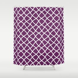 Purple and white curved grid pattern Shower Curtain