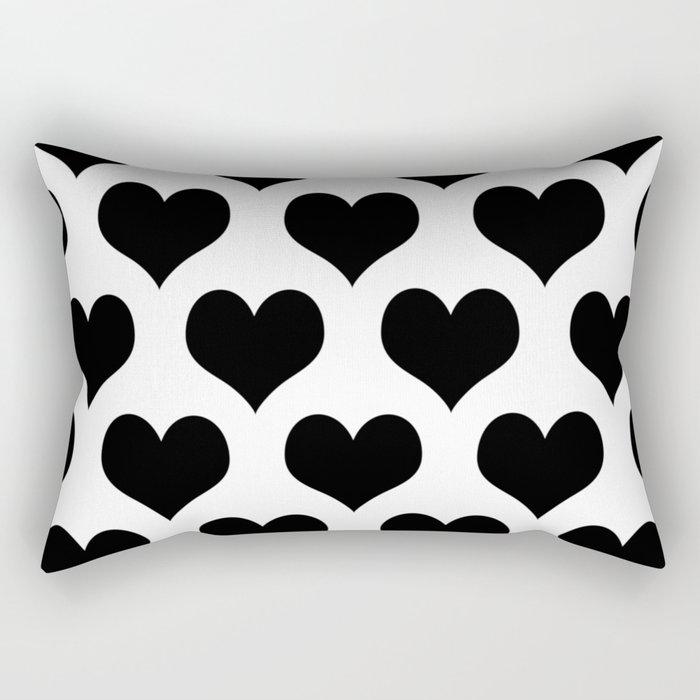 White Black Heart Minimalist Rectangular Pillow