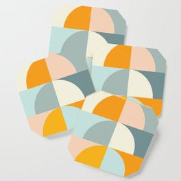 Summer Evening Geometric Shapes in Soft Blue and Orange Coaster