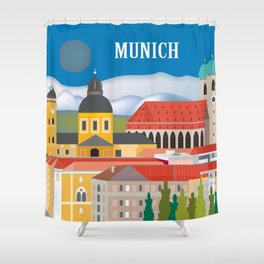 Munich, Germany - Skyline Illustration by Loose Petals Shower Curtain
