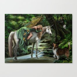 Sleeping Fairy on Unicorn Canvas Print