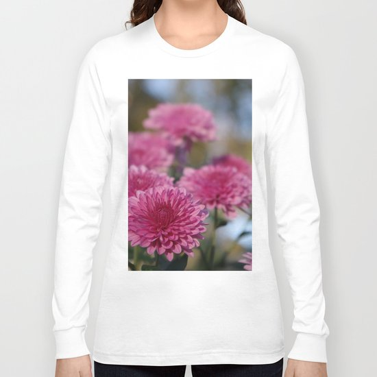 Rosy Chrysanthemum with gold leaves, blue sky Long Sleeve T-shirt