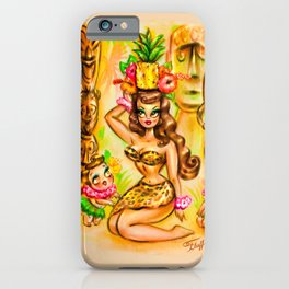 Pineapple Island Girl with Tikis iPhone Case