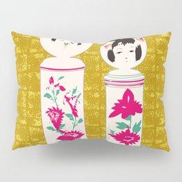 Japanese Kokeshi on Gold-leaf Screen Pillow Sham
