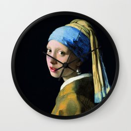 Jan Vermeer Girl With A Pearl Earring Baroque Art Wall Clock
