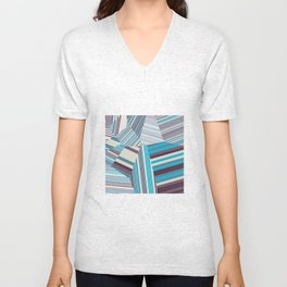 Skycraper Blues - Voronoi Stripes Unisex V-Neck