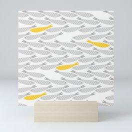 Cute Fish on Grey Background Mini Art Print