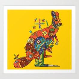 Kangaroo, cool wall art for kids and adults alike Art Print