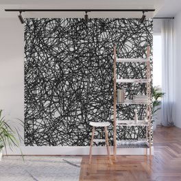 Angry Scribbles - Black and white, abstract, black ink scribbles pattern Wall Mural