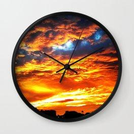 Fantastic Sunset, blue and orange sky Wall Clock