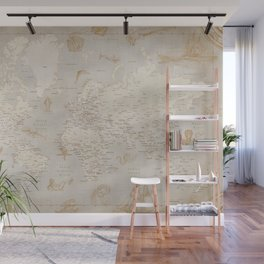 Vintage looking current world map with sea monsters and sail ships Wall Mural
