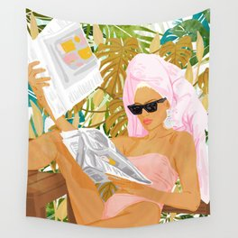 Vacay News #illustration #painting Wall Tapestry