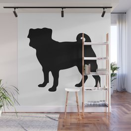 Simple Pug Silhouette Wall Mural