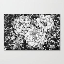 Dahlias & Peonies Black Canvas Print