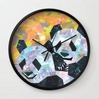 pandas Wall Clocks featuring Pandas by DanielleArt&Design