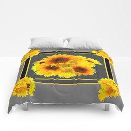 YELLOW SUNFLOWER BOUQUETS GREY ART Comforters