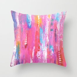 Abstract pink with fish bones Throw Pillow