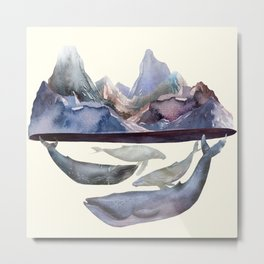 Whales Swiming under the Moutains Metal Print