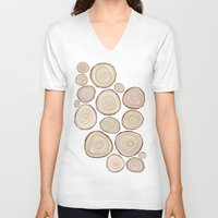 tree rings V-neck T-shirts featuring Tree Rings by Jackie Sullivan