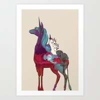 the last unicorn Art Prints featuring The Last Unicorn by nellfoxface