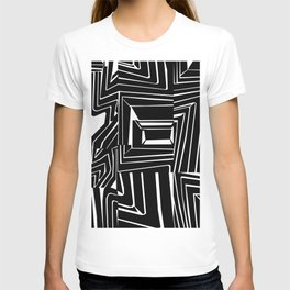 Graphic Ink Black and White Spiral Square Design T-shirt