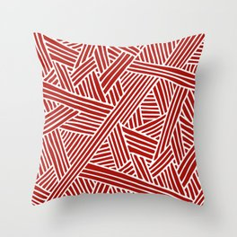 Abstract Navy Red & White Lines and Triangles Pattern Throw Pillow