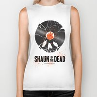 shaun of the dead Biker Tanks featuring Shaun of the dead by Wharton