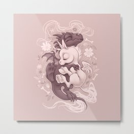 Dragon and Unicorn Metal Print