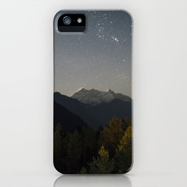 Starry night sky over the himalayas. iPhone Case