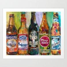 Alaskan - Budweiser - Arrogant - Pliny - Blue Moon Beer  Beer Art Painting Art Print