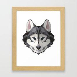 Triangular Geometric Siberian Husky Head Framed Art Print