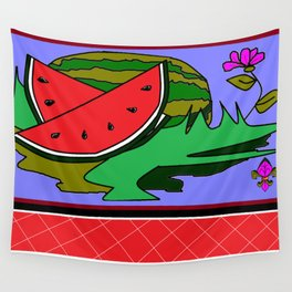 Watermelon with flower and red tile Wall Tapestry
