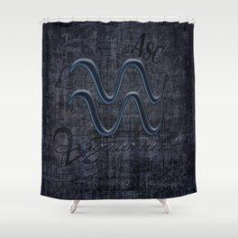 Aquarius In Grunge Look Shower Curtain