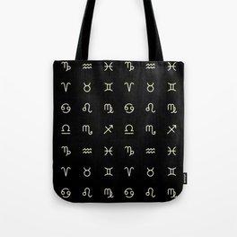 Zodiac Symbols - Black Tote Bag