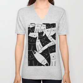 The Cats are Watching - B/W Unisex V-Neck
