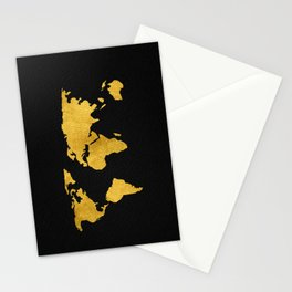 Metallic Gold Foil World Map On Black Stationery Cards