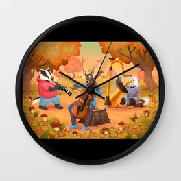 Musician animals in the wood Wall Clock