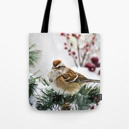 Winter Sparrow Tote Bag