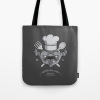 chef Tote Bags featuring MONSTER CHEF by MostrOpi