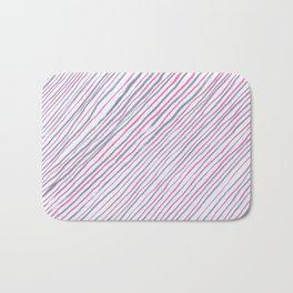 Hand drawn grey and pink diagonal striped pattern Bath Mat