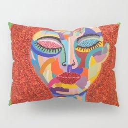 Pop Art woman face colors Fauve Lady 3 rock  Pillow Sham