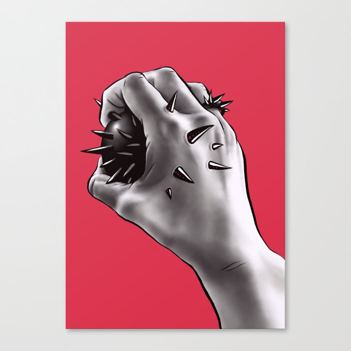 Painful Experiment With Stabbed Hand | Horror Art Canvas Print