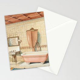 Vintage bathroom interior published in 1877-1893 by JL Mott Iron Works Stationery Cards