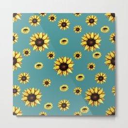 Sunflower Sunburst Metal Print