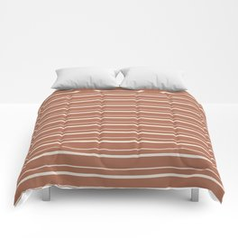Sherwin Williams Creamy Off White SW7012 Horizontal Line Patterns 3 on Cavern Clay Warm Terra Cotta Comforters