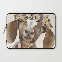 Goat Art, Flower Crown Goat Laptop Sleeve