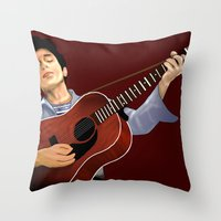 bob dylan Throw Pillows featuring Bob Dylan by Derek Donovan