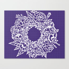 White Flowery Linocut Wreath On Checked UltraViolet Canvas Print