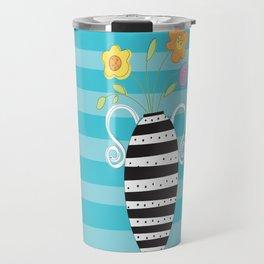 Whimsy Graphic Vase Travel Mug